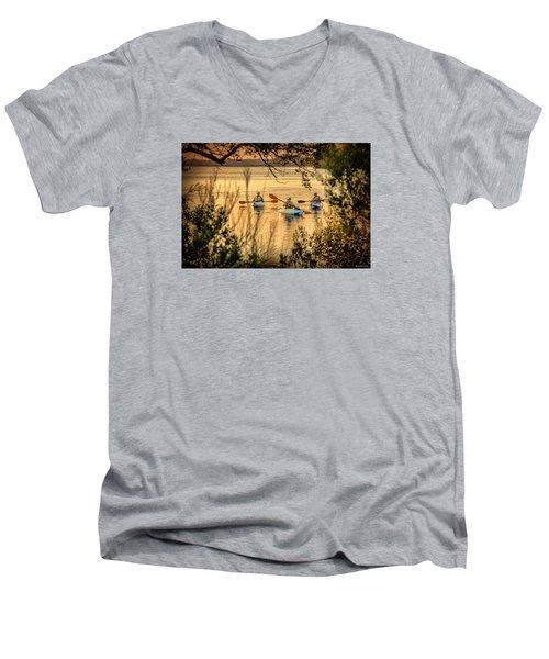 Three Kayaks Coming Home Men's V-Neck T-Shirt by Phil Mancuso