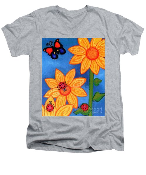 Three Ladybugs And Butterfly Men's V-Neck T-Shirt by Genevieve Esson