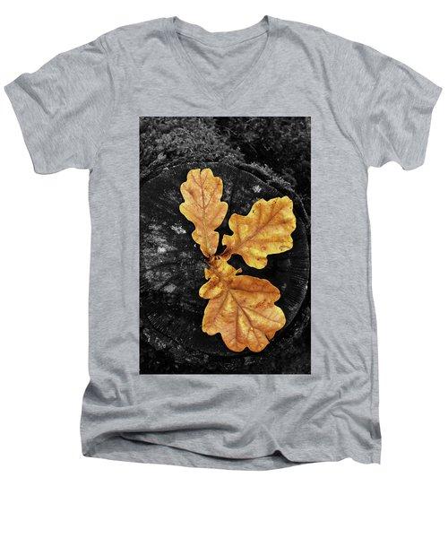 Three Leaves On Black Men's V-Neck T-Shirt