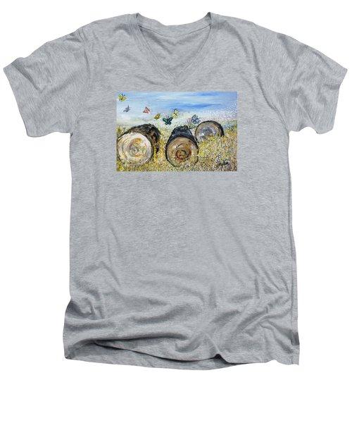 Three Logs Men's V-Neck T-Shirt