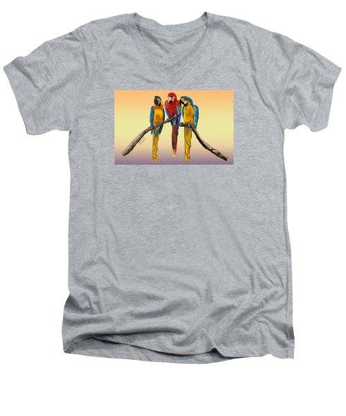 Three Macaws Hanging Out Men's V-Neck T-Shirt by Thomas J Herring