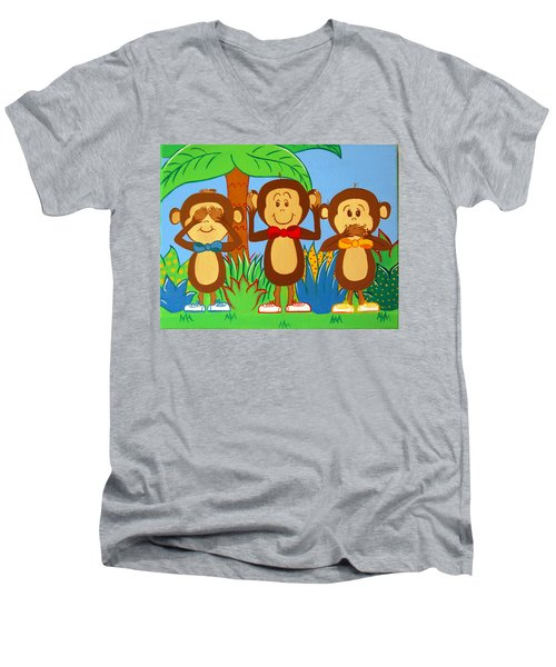 Three Monkeys No Evil Men's V-Neck T-Shirt
