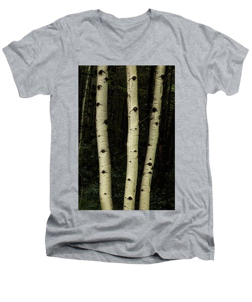 Men's V-Neck T-Shirt featuring the photograph Three Pillars Of The Forest by James BO Insogna