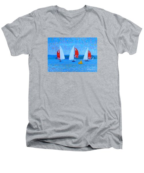 Three Red Sails  Men's V-Neck T-Shirt