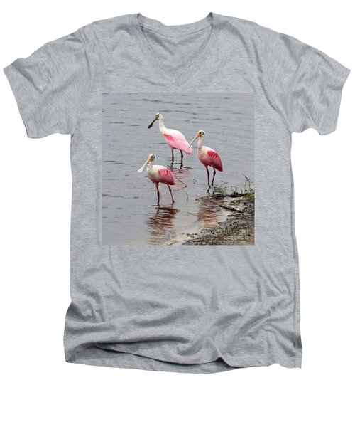 Three Roseate Spoonbills Square Men's V-Neck T-Shirt