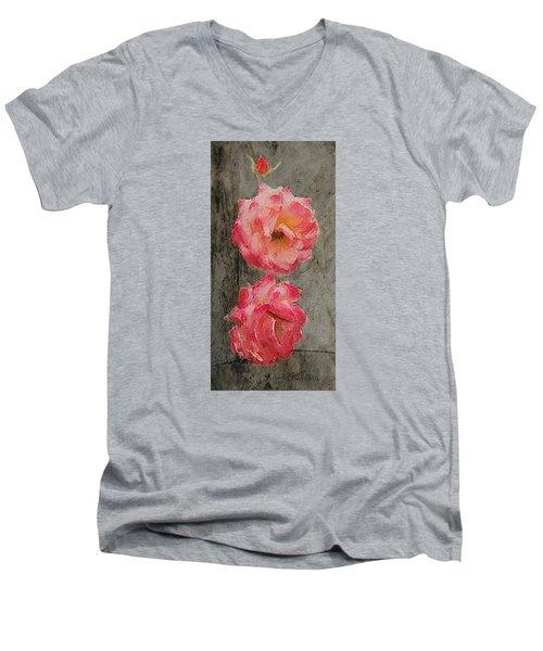 Men's V-Neck T-Shirt featuring the digital art Three Roses by Dale Stillman