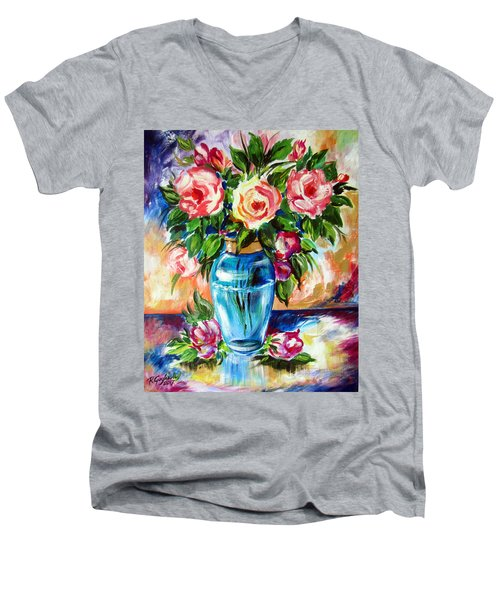 Men's V-Neck T-Shirt featuring the painting Three Roses In A Glass Vase by Roberto Gagliardi