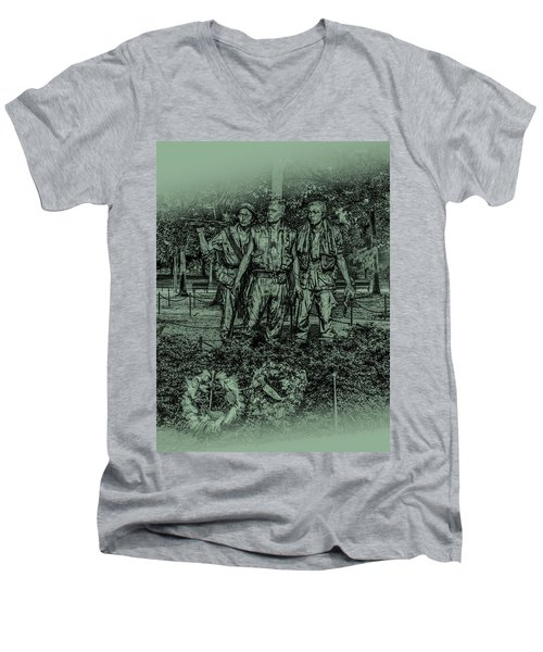 Men's V-Neck T-Shirt featuring the photograph Three Soldiers Memorial by David Morefield