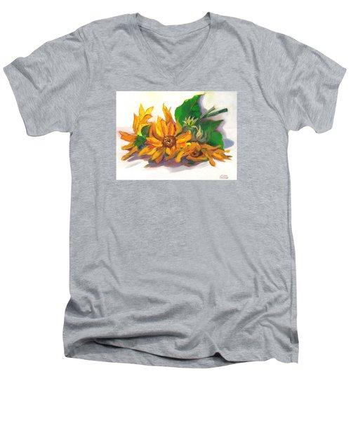 Three Sunflowers Men's V-Neck T-Shirt by Susan Thomas