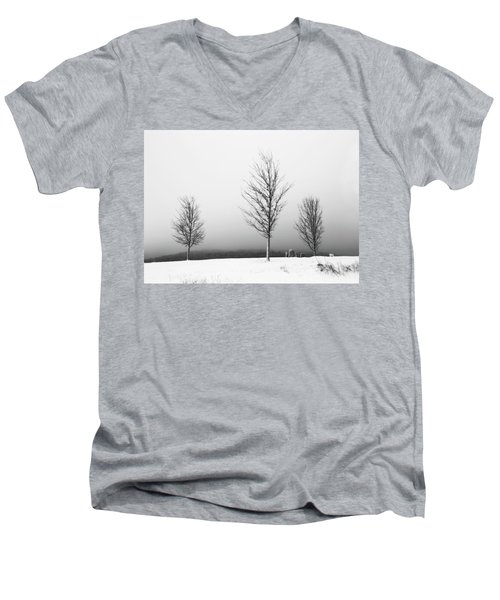 Three Trees In Winter Men's V-Neck T-Shirt by Brooke T Ryan
