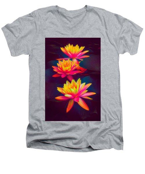 Men's V-Neck T-Shirt featuring the photograph Three Waterlilies by Chris Lord