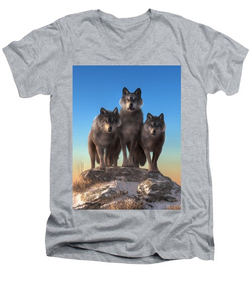 Three Wolves Watching You Men's V-Neck T-Shirt