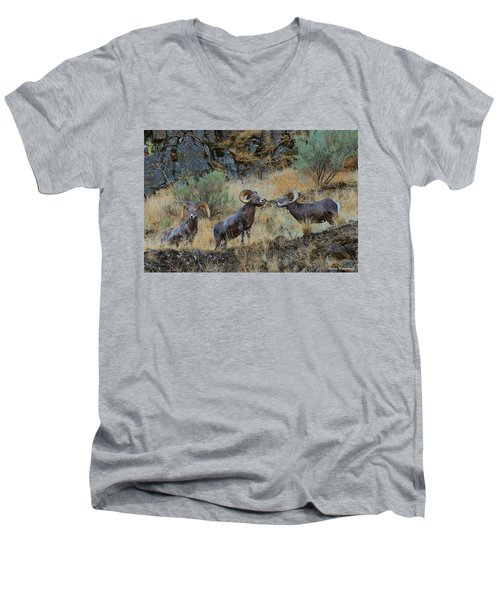 Three's Company Men's V-Neck T-Shirt by Steve Warnstaff