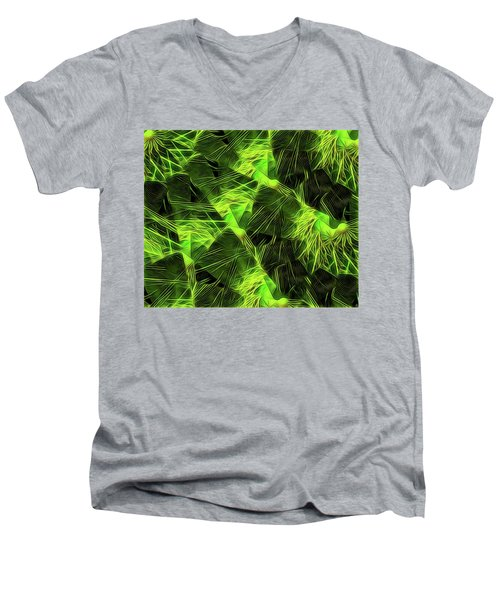Men's V-Neck T-Shirt featuring the digital art Threshed Green by Ron Bissett