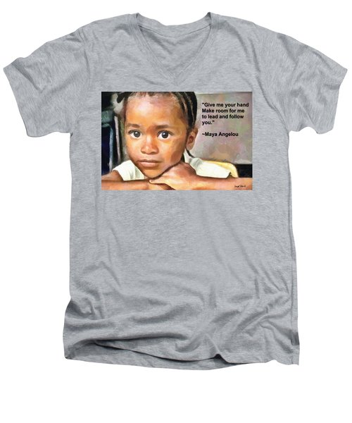 Men's V-Neck T-Shirt featuring the painting Through The Eyes Of A Child by Wayne Pascall