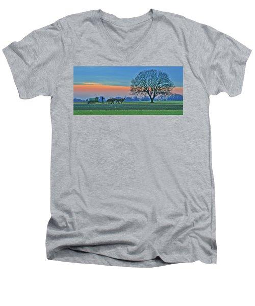 Through The Fields Men's V-Neck T-Shirt by Scott Mahon