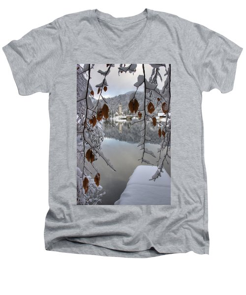 Men's V-Neck T-Shirt featuring the photograph Through The Snow Trees by Ian Middleton