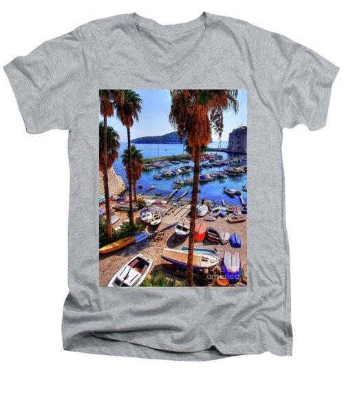 Through The Trees Dubrovnik Harbour Men's V-Neck T-Shirt