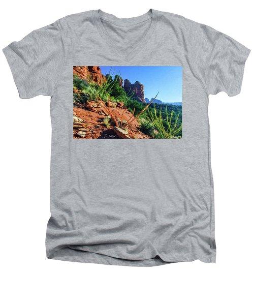 Thunder Mountain 07-006 Men's V-Neck T-Shirt by Scott McAllister