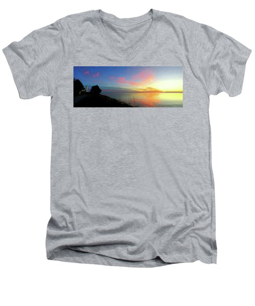 Sunset At Tibbetts Point Light, 2015 Men's V-Neck T-Shirt