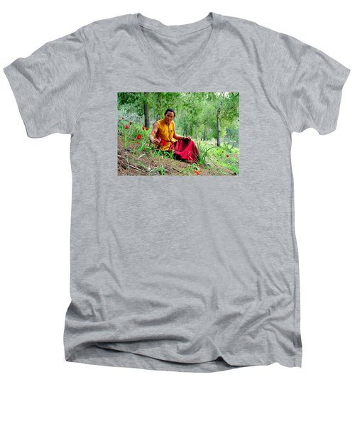 Tibetan Doctor In Lahav Forest Men's V-Neck T-Shirt