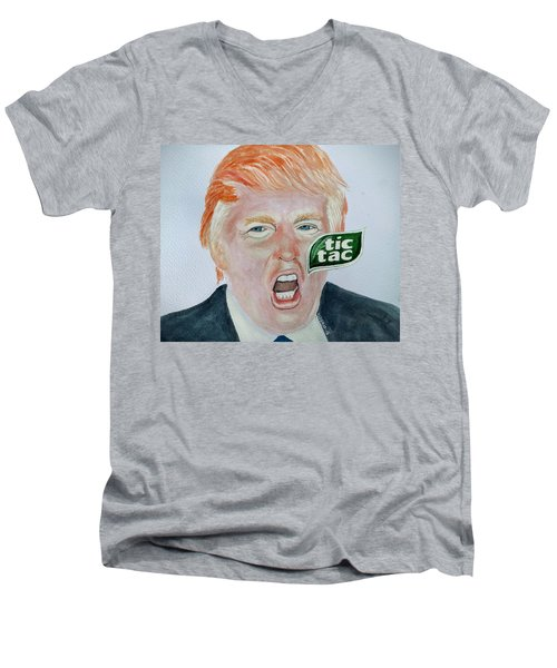 Men's V-Neck T-Shirt featuring the painting Tic Tac Trump by Edwin Alverio