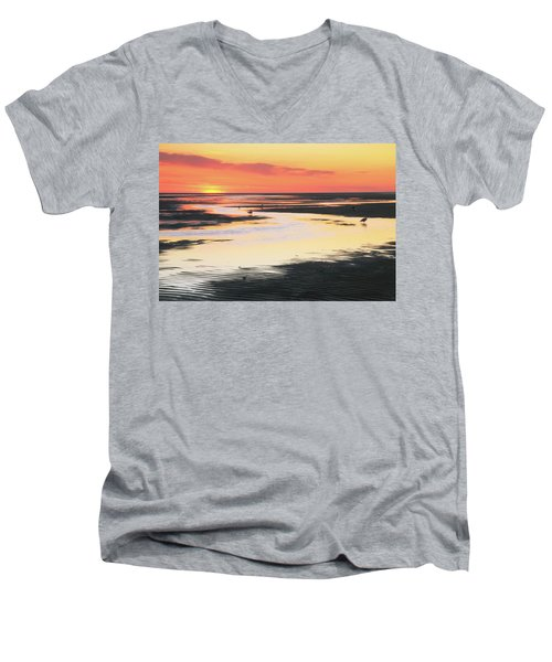Men's V-Neck T-Shirt featuring the photograph Tidal Flats At Sunset by Roupen  Baker