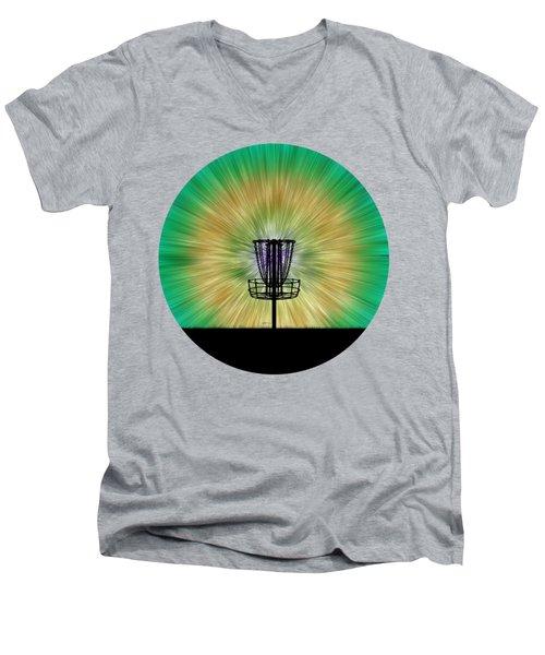 Tie Dye Disc Golf Basket Men's V-Neck T-Shirt by Phil Perkins