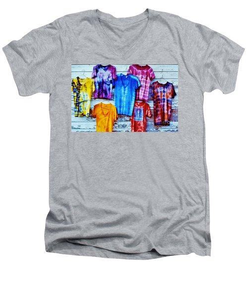 Grateful Dead Tie Dye Men's V-Neck T-Shirt by Susan Carella