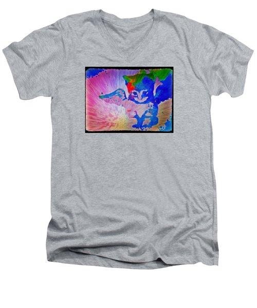 Tie Dye Tiger Men's V-Neck T-Shirt