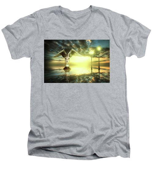 Men's V-Neck T-Shirt featuring the digital art Time To Reflect by Nathan Wright