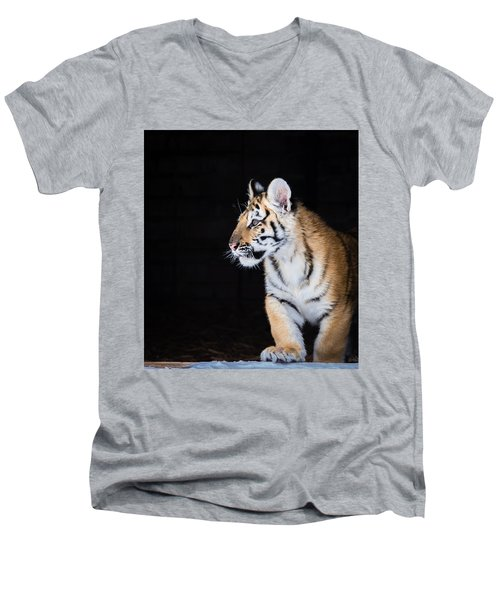 Tiger Cub Men's V-Neck T-Shirt by Serge Skiba