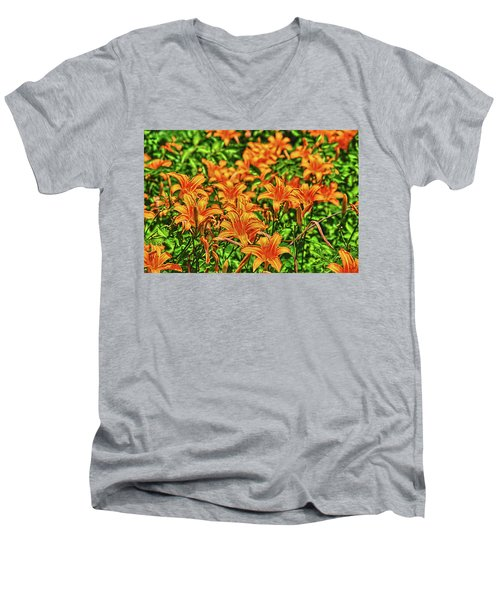 Tiger Lilies Men's V-Neck T-Shirt by Pat Cook