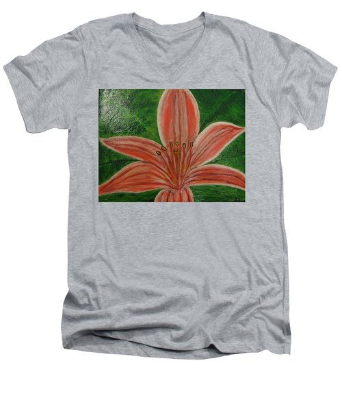 Tiger Lilly Men's V-Neck T-Shirt by Barbara Yearty