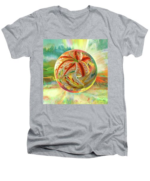 Men's V-Neck T-Shirt featuring the digital art Tiger Lily Dream by Robin Moline
