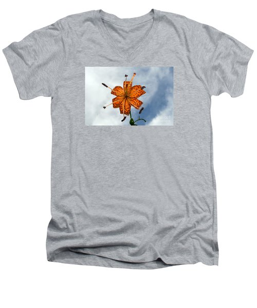 Tiger Lily In A Shower Men's V-Neck T-Shirt by Kevin Fortier