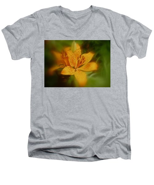 Men's V-Neck T-Shirt featuring the photograph Tiger Lily No. 1 by Richard Cummings