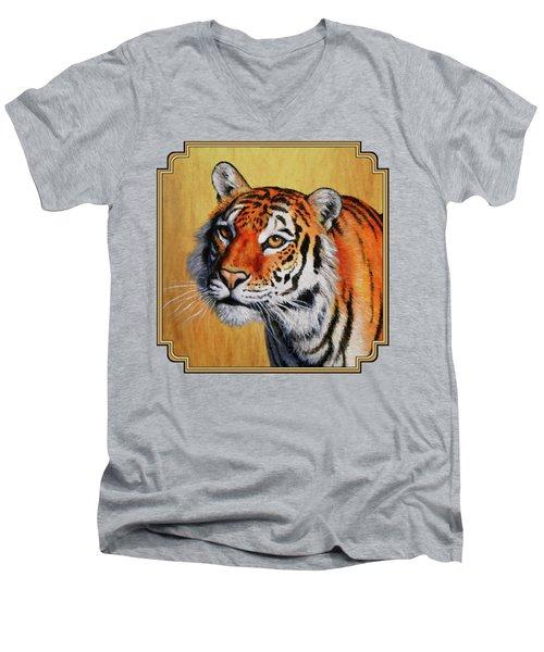 Tiger Portrait Men's V-Neck T-Shirt by Crista Forest