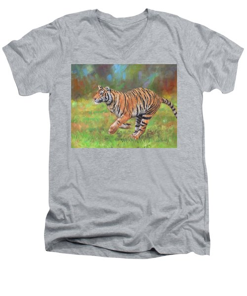 Men's V-Neck T-Shirt featuring the painting Tiger Running by David Stribbling
