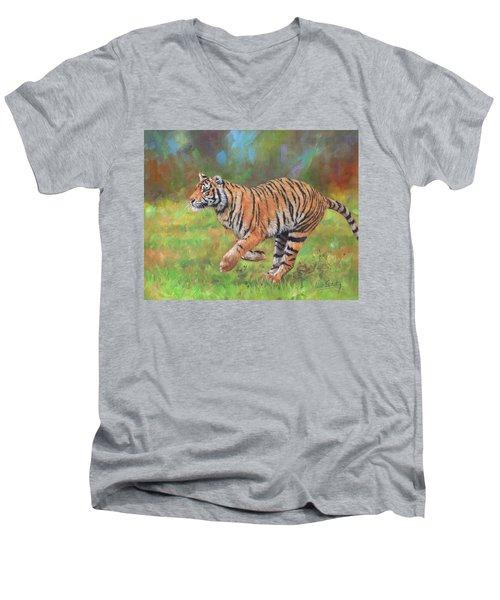 Tiger Running Men's V-Neck T-Shirt by David Stribbling
