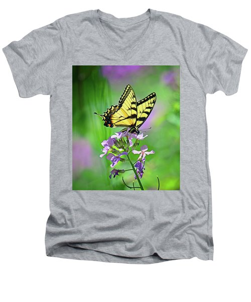 Men's V-Neck T-Shirt featuring the photograph Tiger Swallowtail by Rodney Campbell