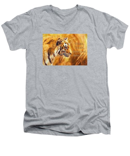 Tiger Tiger Burning Bright Men's V-Neck T-Shirt