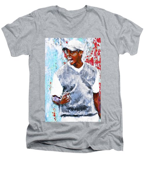 Men's V-Neck T-Shirt featuring the photograph Tiger Woods One Two Red Painting Digital by David Haskett