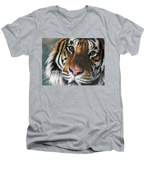 Men's V-Neck T-Shirt featuring the pastel Tigger by Barbara Keith