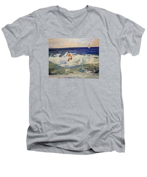 Tightrope Walking The Waves Men's V-Neck T-Shirt