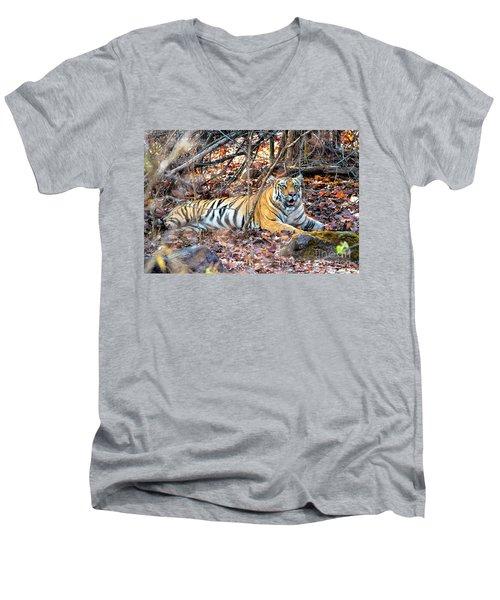 Tigress In The Woods Men's V-Neck T-Shirt by Pravine Chester