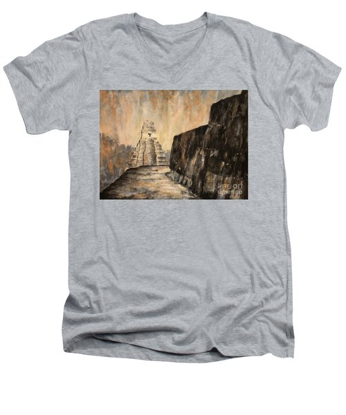 Men's V-Neck T-Shirt featuring the painting Tikal Ruins- Guatemala by Ryan Fox