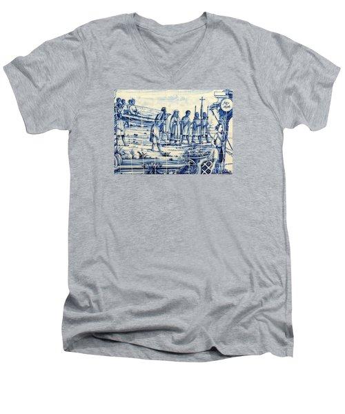 Tile Art Angola Men's V-Neck T-Shirt by John Potts