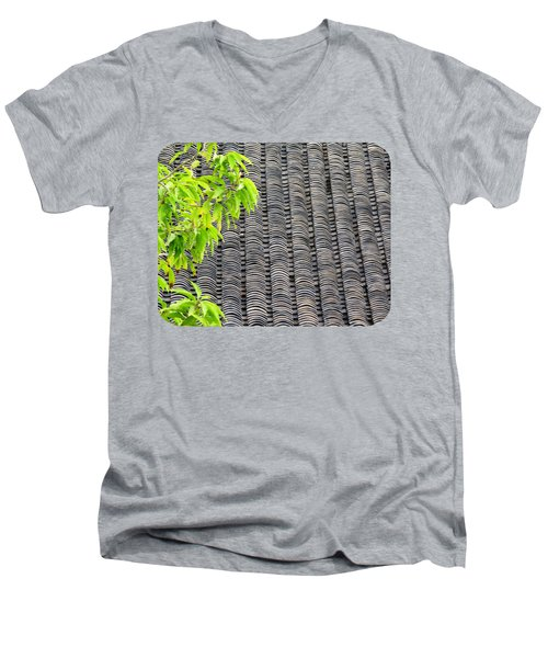 Men's V-Neck T-Shirt featuring the photograph Tiled Roof by Ethna Gillespie