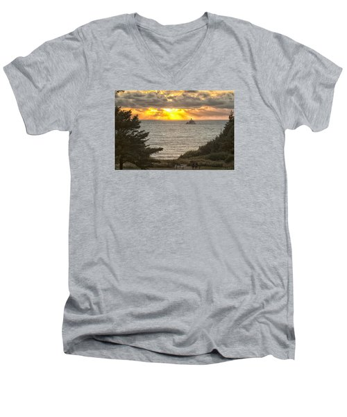 Tillamook Rock Lighthouse 0402 Men's V-Neck T-Shirt